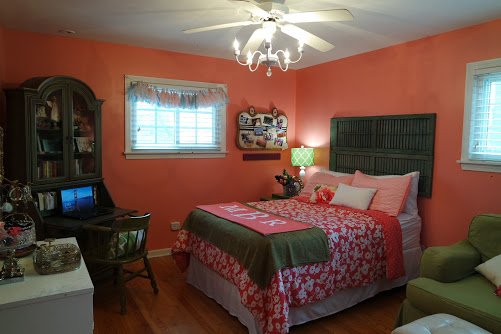 Teenage girl bedroom makeover with coral walls