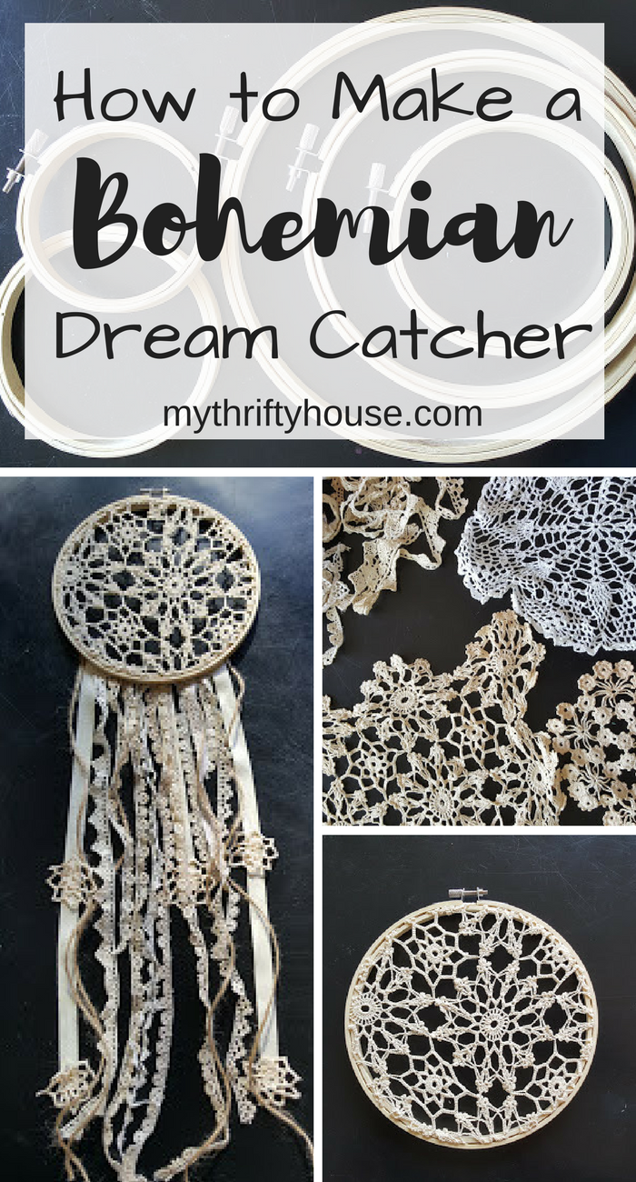 How to make a bohemian dream catcher my thrifty house for Dream catchers how to make them