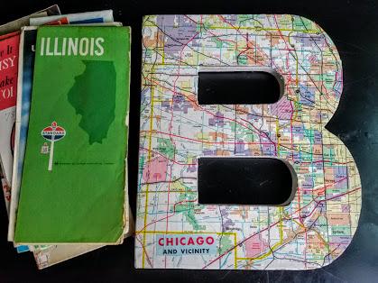 decoupaged vintage map letter B