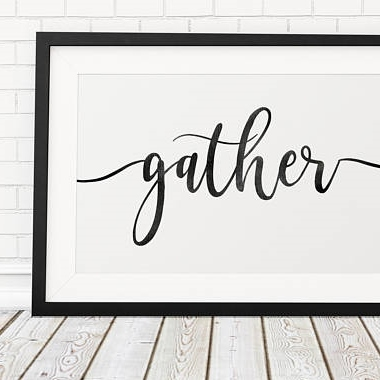 inexpensive fall decor - Etsy - Gather Sign