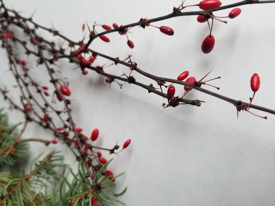 decorative ice bowl berries and branches