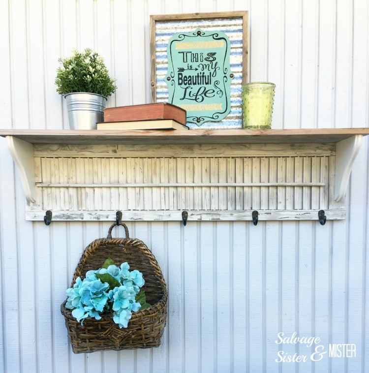 Waste Not Wednesday Week 89 from Deborah at Salvage Sister and Mister Wood Shutter Shelf