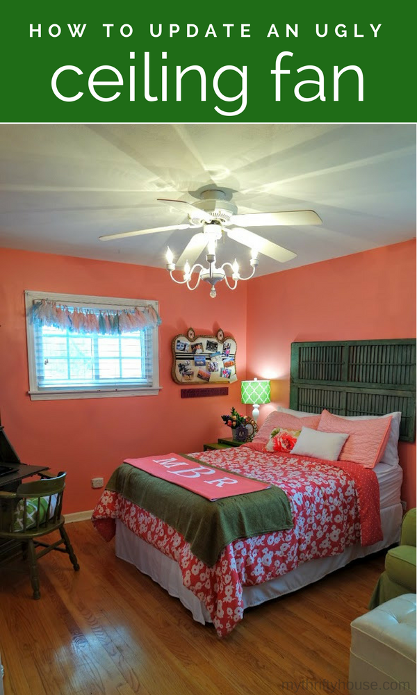 Updating an ugly ceiling fan in a teenage girl's bedroom makeover
