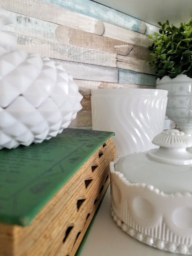 displaying milk glass with various shapes and sized