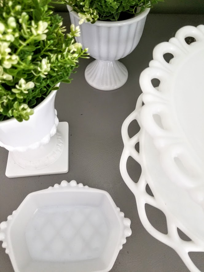 displaying milk glass with plants
