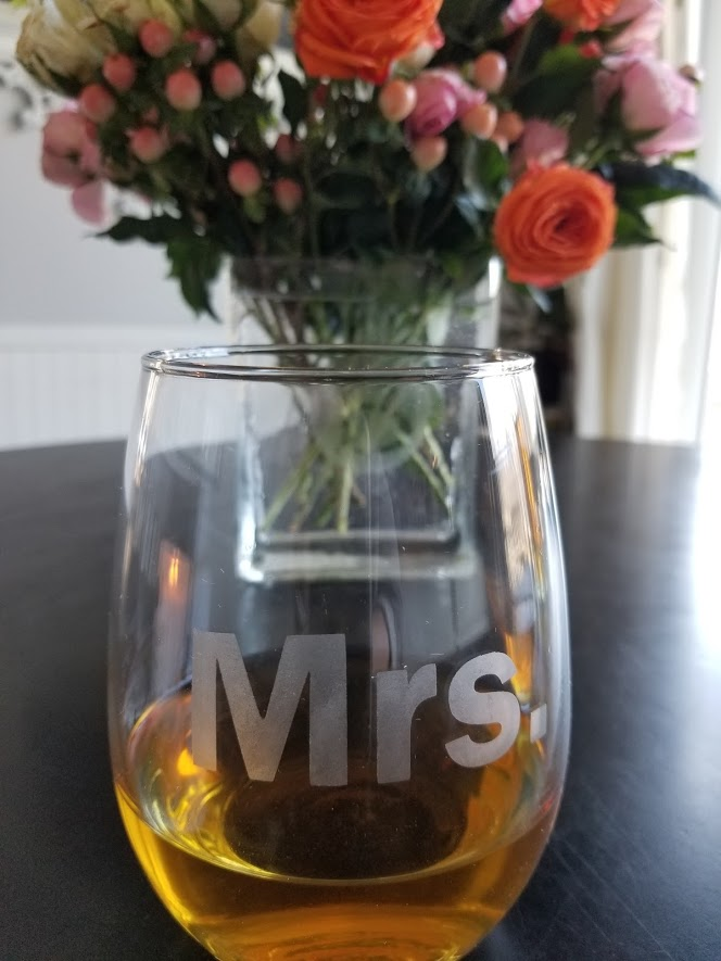 etched glass mrs. wine glass