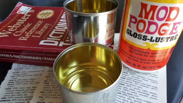 supplies for glittered tin can tea light holders